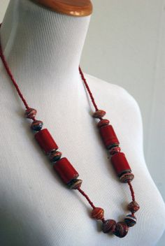 African Paper Bead Necklace / Red / Upcycled Jewelry