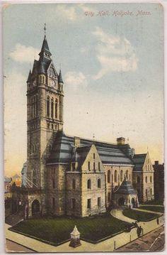 City Hall Holyoke Massachusetts, Massachusetts Ma, U.s. States, Great Memories, Architectural Elements, Rare Photos, New England, Opera House, Westerns