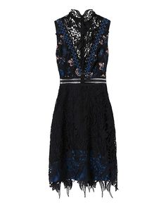 Self-Portrait Clementine Black Dress: Intricate craftsmanship is something to get excited about and here we have the perfect confection. Sleeveless. Zip closure at back. Partially lined. Semi sheer. In black. Fabric: 100% polyester Contrast: 100% polyamide Lining: 100% polyester Made in ...