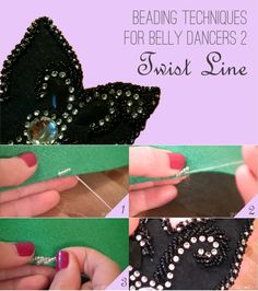 Learn how to do beading in a twist line - super useful beading technique for belly dance costumes! Tribal Fusion, Dance Outfits, Dance Dresses, Bordados Tambour, Dance Oriental, Shimmy Shimmy, Tribal Belly Dance, Beading Techniques, Learn To Dance