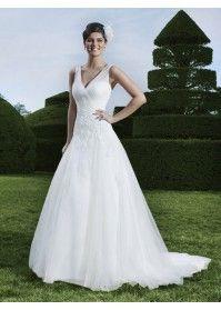 Sexy Brautkleid Weiß A-Linie rückenfrei mit Trägern