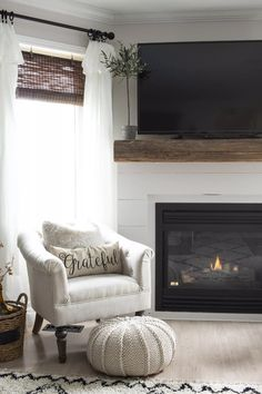 Brick Fireplace Makeover, Shiplap Fireplace, Farmhouse Fireplace, Fireplace Remodel, Fireplace Mantels, Fireplace Decorations, Fireplace Ideas, Accent Walls In Living Room, Accent Wall Bedroom