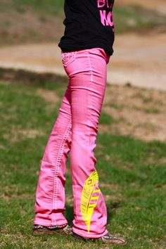 Pink and yellow rodeo jeans