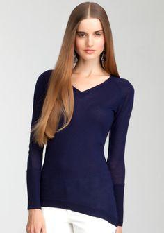 V-Neck Asymmetric Sweater Top Blue Print