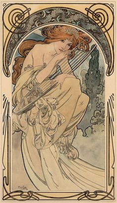 """Allegorie der Musik"" von Alphonse Mucha, ca. 1898 ""Allegory of Music"" by Alphonse Mucha, c. Motifs Art Nouveau, Art Nouveau Mucha, Design Art Nouveau, Alphonse Mucha Art, Art Nouveau Poster, Art Nouveau Tattoo, Art And Illustration, Illustrations, Inspiration Art"