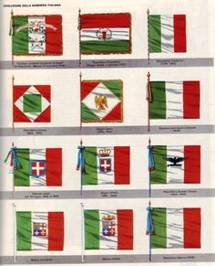 Evolution of the Italian flag in all the various governments: starting from the Cisalpine Republic u Vintage Italian Posters, Empire Romain, Italian Army, Seven Years' War, Italian Language, Learning Italian, Flags Of The World, Reggio Emilia, Flag Design