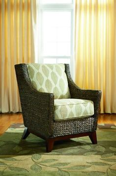 Eco Leaf Chair by CORT -- Abaca weave with a botanical pattern on  mahogany legs. | CORT.com