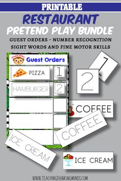 Love this Ultimate Restaurant Pretend Play Bundle. Practicing fine motor skills, number recognition, writing, sight words and maths all from just taking an order! Order Pizza, Educational Activities For Kids, Number Recognition, Gross Motor Skills, Dramatic Play, Emotional Intelligence, Sight Words, Pretend Play, Critical Thinking