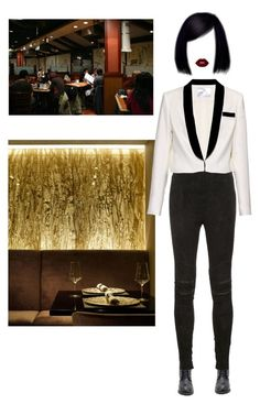 """""""your table will be ready soon."""" by styledbynneka ❤ liked on Polyvore featuring Yves Saint Laurent, Racil, Lime Crime, uniform, restaurant, korean and styleicon"""