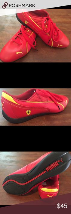 Men's Red Puma Ferrari Drift - SZ 11.5 Narrow EUC men's official Ferrari Puma shoe SZ 11.5 narrow. Never been worn due to wrong width. No box. Puma Shoes Athletic Shoes