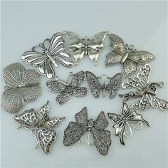 10PCS-Mixed-Vintage-Silver-Alloy-Insect-Butterfly-Pendant-Jewelry-Making