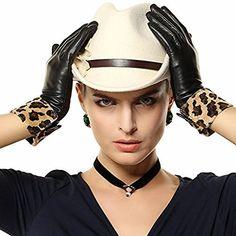 Winter Warm Genuine Leather Gloves & Leopard Trim