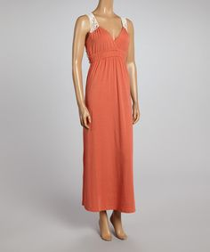 Take a look at the Poof! Coral Sherbet & Ivory Crocheted V-Neck Maxi Dress on #zulily today!