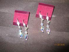 Swarovski Crystal Crystal AB 2X Briolette Earrings  SW-E-19