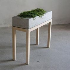 swedish concrete and wood plant table
