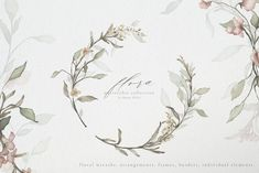 Ad: Flora Watercolor Flowers Collection by Emmy Kalia on Flora is my new watercolor collection with beautiful hand-painted Flowers. Enjoy these watercolor florals with pre-made arrangements, Watercolor Border, Wreath Watercolor, Watercolor Design, Watercolor Flowers, Illustration Blume, Botanical Illustration, Graphic Illustration, Hand Drawn Flowers, Painted Flowers