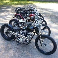 A nice grouping of Triumph bobbers Motorcycle Mechanic, Motorcycle Types, Bobber Motorcycle, Bobber Chopper, Cool Motorcycles, Triumph Motorbikes, Triumph Bikes, Triumph Motorcycles, Bobber Style