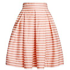 Rumour London - Amalfi Coral Striped Midi Skirt ($165) ❤ liked on Polyvore featuring skirts, bottoms, pleated skirt, fitted skirts, knee length pleated skirt, summer skirts and coral skirt