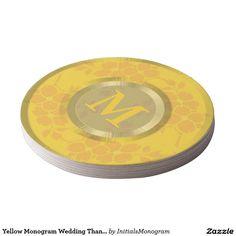 Yellow Monogram Wedding Thank You Floral Pattern Round Paper Coaster