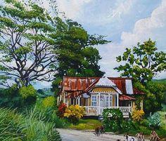 #caribbean #art #ja #house #tropics #escape #jamaicatraveltoday Jamaican Art, Caribbean Art, Jamaica Travel, Tropical, House, Painting, Home, Painting Art, Paintings