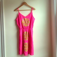 Lilly Pulitzer Dress- Tropical Pink Flamingo Panel Hot pink summer dress with lime green embroidery/sequins. This little dress is a unique stunner. Lilly Pulitzer Dresses Mini
