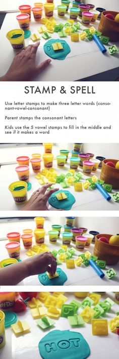 Stamp and Spell How-to: 1) Use letter stamps to make three letter words 2) Parent stamps the consonant letters 3) Kids use the 5 vowel stamps to fill in the middle and see if it makes a word.