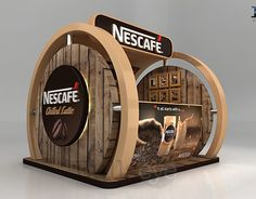Nescafe Chilled Latte sampling and selling booth Food Stall Design, Food Cart Design, Exhibition Stall, Exhibition Booth Design, Kiosk Design, Cafe Design, Pop Design, Stand Design, Wein Parties
