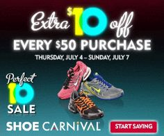 Shoe Carnival $$ Reminder: Coupon for $10 off Every $50 Purchase – Expires TODAY (7/7)!