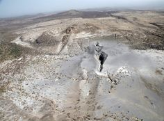 A recent massive fissure in the Ethiopian desert.  Such fissures are normally seen on...