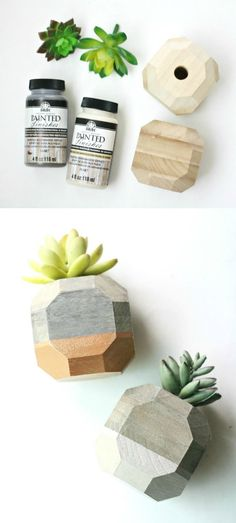 Create the cutest little succulent planters ever using wooden candle holders from the craft store! A little paint and a few faux succulents is all you need. via @diy_candy