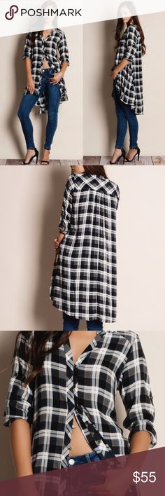 "Plaid Button Up Flare Top / Blouse Button up flared plaid tunic. True to size but a loose fit. This is an ACTUAL PIC of the item - all photography done personally by me. Model is 5'9"", 32""-24""-36"" wearing the size small. NO TRADES DO NOT BOTHER ASKING. PRICE FIRM. Bare Anthology Tops Button Down Shirts"