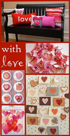 best of best valentines day crafts I like all the pillows on the bench