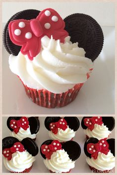 """""""Minnie Mouse cupcakes""""  Chocolate cupcakes. Strawberry butter cream frosting. Oreo cookie ears. Handmade fondant bows with royal icing dots."""