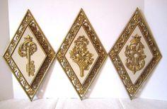 Four Seasons, Syroco Gilt Wall Plaque, Diamond Gold Filigree, Hollywood Regency, Skeleton Key Lock, MCM Wall Hangings, Mid Century, Wall Art by LuckyPennyTrading on Etsy