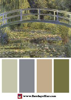 Natural color palette inspired by: The Water Lily Pond & Bridge, Art Print by Claude Monet. I would add pops of lemon for a bit of fresh air though.