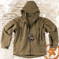 HELIKON PATRIOT, MENS MILITARY TACTICAL HOODED FLEECE JACKET, COYOTE