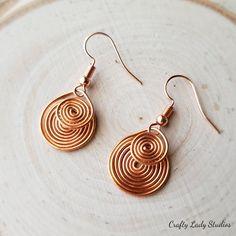 Double Swirl Copper Dangle Earrings