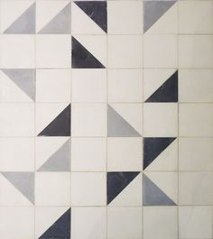 Geometric floor, Strada Cement tiles in black, oxford & white.