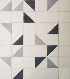 Geometric floor, Strada Cement tiles in black, oxford & white.