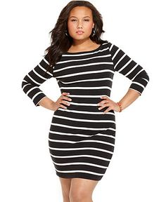 Soprano Plus Size Dress, Three Quarter Sleeve Striped