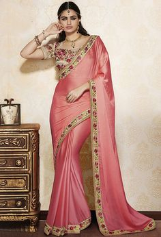 Salmon And Beige Color Faux Georgette And Raw Silk Designer Party Wear Saree Pakistani Dresses, Indian Sarees, Indian Dresses, Indian Outfits, Indian Clothes, Indian Bollywood, Designer Sarees Wedding, Wedding Sarees Online, Saree Wedding