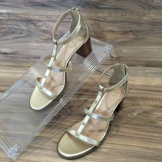38b65c24989 Details about Jack Rogers Julia Gold Leather Heel Studded Zip Women Sandals  Size 10 New