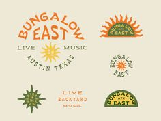 Bungalow East designed by Emily Prestridge. Connect with them on Dribbble; Logo Branding, Branding Design, Logo Design, Retro Graphic Design, Brand Identity, Type Design, Design Art, Personal Branding, Sticker Design