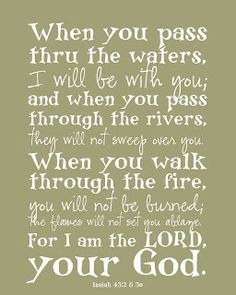 tharderdesign: Isaiah 43:2-3 My dear friend and colleague, Linda Shaw, shared this verse with me years ago when I was going through a rough time.  It's been my go-to verse ever since!  Thanks, Linda!