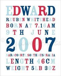 Birth notice print boys personalised unframed (navy, blue & red) $38.00 - $48.00 #mum #hollyandeddie  http://hollyandeddie.com.au/category_12/Mum.htm
