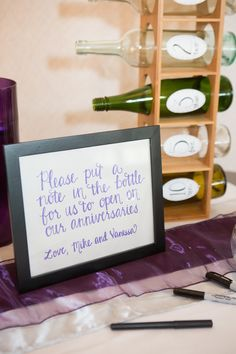 alternative guest book idea -- wine bottle leave a note for the couple on their anniversary guest book