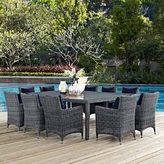 outdoor modway summon wicker 59 5 in round patio dining table