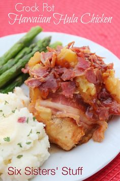 A delicious crock pot chicken covered in bbq sauce, pineapple, and bacon crumbles. Sixsistersstuff.com