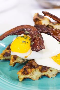 This hash brown waffle stack features sausage-stuffed hash browns cooked in a waffle maker and topped with fried eggs and candied bacon. Though it sounds decadent, the recipe is foolproof and easy to triple or quadruple to feed a whole crowd. Commence the drooling . . .