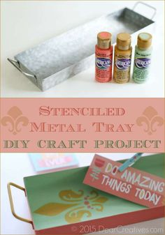 DIY Craft Projects: How To Stencil A Metal Tray  DIY Craft Projects   This technique can be used on wood also Diy Craft Projects, Fun Crafts, Metal Trays, Fall Diy, Diy Home Decor, Stencils, Autumn, Crafty, Wood